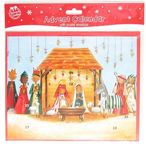 Calendario de Adviento de Navidad tradicional con 24 ventanas para abrir, belén (lindo)