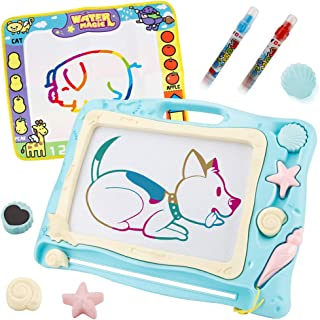 Sotodik 1PCS Magnetic Drawing Board+1PCS Magic Water Doodle Mat Magna Doodle Set with 3 Stamps and 2 pcs Water Writing pens Toys for Writing Painting Learning(Travel Size)