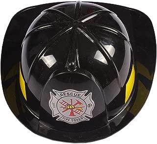 GradPlaza Firefighter Costume Plastic Red Cap Fireman Hat Black