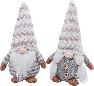 Halloween White Hair Gnomes Halloween No Face Gnome Doll Plush, Irish Leprechaun Swedish Gnome Tomte Nordic Elf Figurine Home Household Ornaments (Grey)