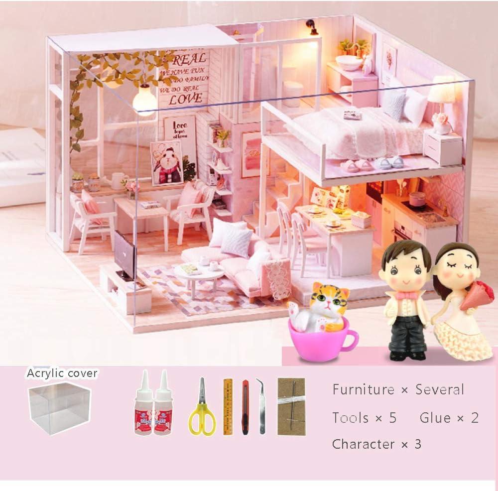 LIUSHI DIY Miniature Dollhouse OFFicial site Kits Furniture Pink with depot House Ki
