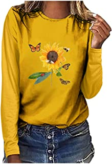 Women Cute Graphic T Shirt,MOHOLL Casual Long Sleeve Round Neck Novelty Loose Tee Tops Blouse for Halloween Christmas