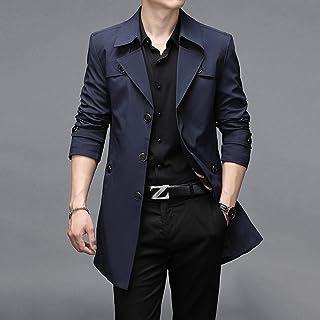 Zcbm Men's Coat Long Trench Coat Warm Casual Overcoat Business Outwear Single Trench Jacket Slim Fit Overcoat