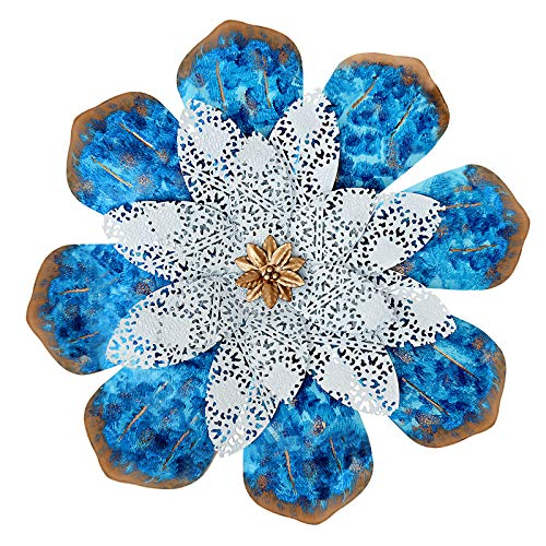 Aboxoo Wall Sculptures Colorful Art Metal Flower Boho Style Home Decoration for Bathroom Living Room Bedroom or Porch Patio Fence 13inch