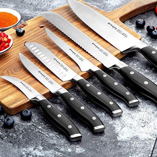 Emojoy Knife Set, 18-Piece Kitchen Knife Set with Block Wooden, Manual Sharpening for Chef Knife Set, German Stainless Steel