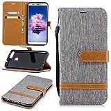 Huawei P Smart Phone Case, Premium Soft PU Leather + Denim