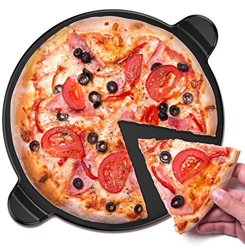 Vremi Ceramic Pizza Stone - 13 Inch Round Nonstick Baking Stone for Oven - Round Pizza Grill with Built-in Handles for Kitchen or Outdoor Barbeque - Thick Professional Bread Stoneware for Pies & Tarts