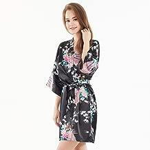 Comfortable and sexy Pajamas Imitation Silk Robes Women's Shorts Peacock Kimono Pajamas Bathrobes (Color : Black, Size : M)