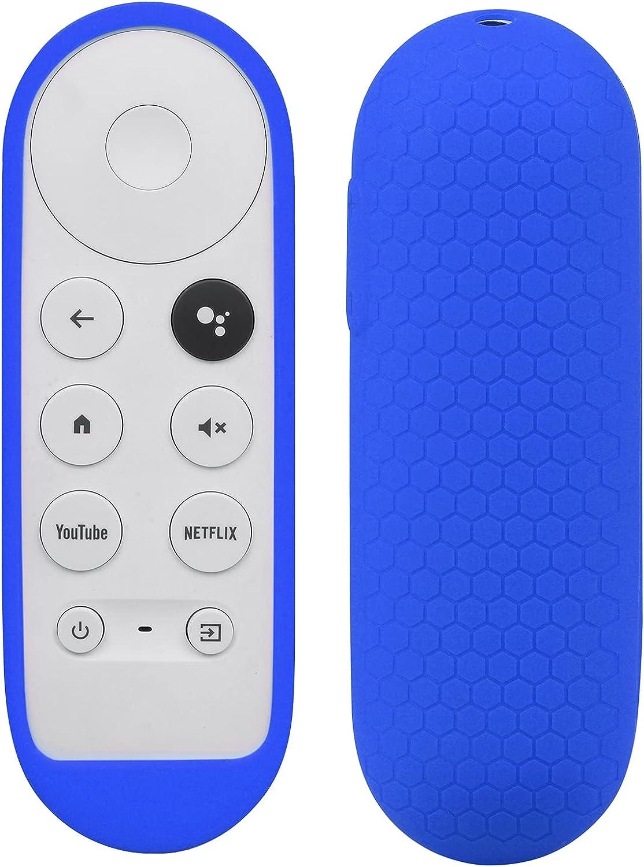 Silicone Case Compatible with Google TV 2020 Voice Remote - SYMOTOP Shockproof Protective Remote Cover Skin Compatible with Chromecast with Google TV 2020 Voice Remote Control - Dark Blue