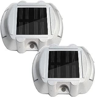 ECO-WORTHY Solar Lights LED Deck Driveway Light Dock Path Step Road Light, Marker Lighting, Waterproof Security Warning Lights White (2 Pack)