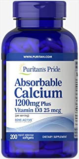 Puritan`s Pride Absorbable Calcium with Vitamin D 3 1000iu Softgels, 1200 mg, 200 Count