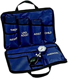 LINE2design Blood Pressure Aneroid Kit System - EMS Emergency Portable Travel Size First Aid Large Adult-Child Bp Cuffs Kit-5 with 5 Different Sized Durable Cuffs