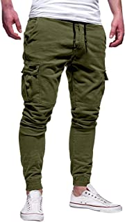 Fankle Men's Pants Sale Athletics Pocket Chino Cargo Sweatpants Drawstring Trousers Sport Fitness Jogger Pants