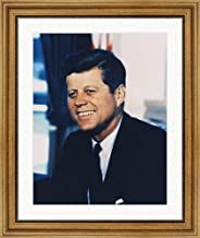 John F. Kennedy, White House Color Photo Portrait Framed Art Print Wall Picture, Wide Gold Frame, 22 x 26 inches