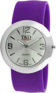TKO ORLOGI Women Fashion Silver Metal Slap Watch with Silicone Slip-On Bracelet
