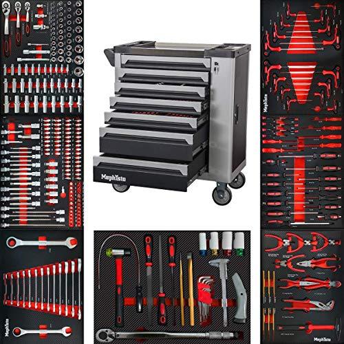XXL Werkzeugwagen Werkstattwagen mit 7 Schubladen davon 7 mit Werkzeug wie Schraubenschlüssel, Ratsche mit Nusskasten, Schraubendreher usw. in Soft Inlays in Carbonoptik befüllte Schubladen