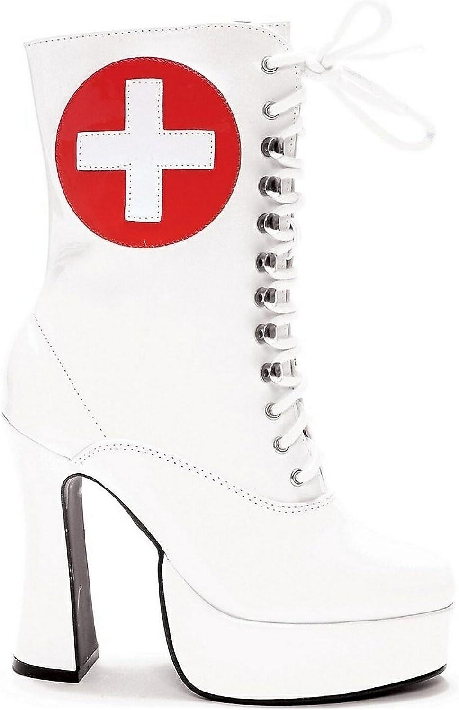 Ellie 557-NURSE 5.5  Heel Ankle Nurse Boot with Inner Zipper