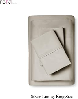 """FBTS Basic Bed Sheets (King Taupe) Cotton Microfiber Interwoven Luxury Sheet Sets 18"""" Deep Pockets Fitted Sheets Breathable Super Soft"""