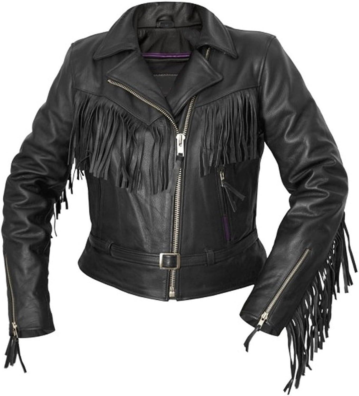 Classyak Women's Fashion Interstate Leather Jacket Fringed