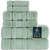 Qute Home 6-Piece Bath Towels Set, 100% Turkish Cotton Premium Quality Bathroom Towels, Soft and Absorbent Turkish Towels, Set Includes 2 Bath Towels, 2 Hand Towels and 2 Washcloths (Green)