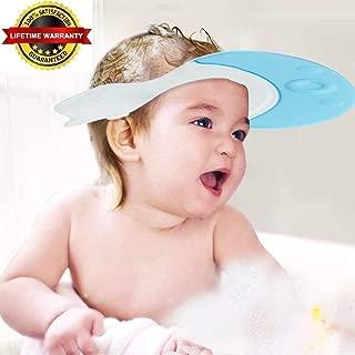 EZ-PZ Blue Baby Bath Visor Cap - Adjustable, Comfortable, Soft, Flexible, Snug, Waterproof & Elastic Ring Hat - for Shower, Bathtub, Sun Bathing, Hair Cutting, Pool, Beach, for Toddler Kid & Adult