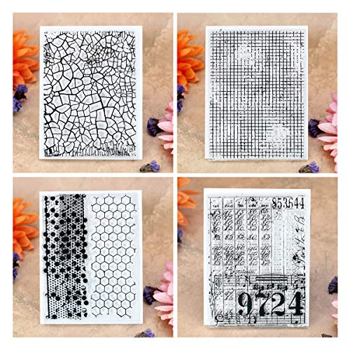 Kwan Crafts 4 Sheets Different Style Crack Honeycomb Background Clear Stamps for Card Making Decoration and DIY Scrapbooking