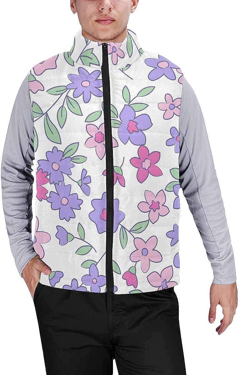 InterestPrint Men's Lightweight Vest Softshell for Camp Vintage Small Flowers M