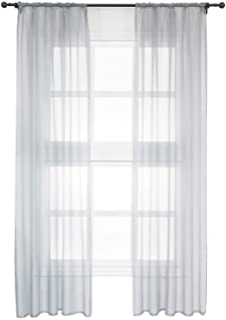 WOLTU zestaw 2 Przezroczyste zasłony, z plisowaną taśmą, zasłony z woalu na szyny, zasłony okienne, salon, sypialnia, styl...