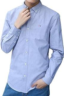 シャツ メンズ 長袖 オックスフォードシャツ 無地 ビジネス Yシャツ ボタンダウン ワイドカラー カジュアル ワイシャツ