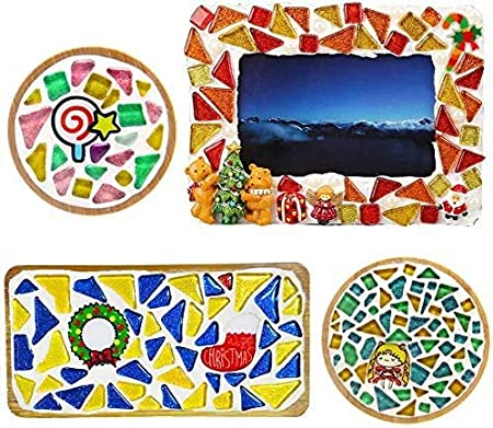 Peacock Green Mosaic Tiles,Glass Tiles Shine Crystal Mosaic Glass Pieces Bulk Assorted Square and Triangle Glitter Crystal Mosaic Tiles for Home Decoration or DIY Crafts 200g