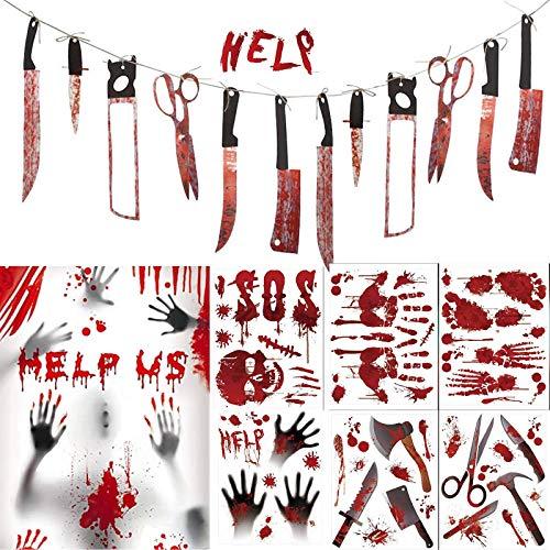 Uni-Fine Halloween Blutige Aufkleber Gruseliges Halloween Deko Fenster Halloween Horror Girlande mit blutigen Handabdrücken und Fußabdrücken für Halloweenparty Badewanne Fenster Tür Dekoration