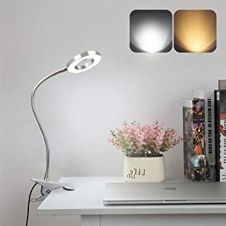 Depuley - Lámpara de escritorio con clip LED, con pinza de lectura en la cama, cuello de cisne flexible de metal plateado, luz blanca cálida y fría, puerto USB para estudio y trabajo