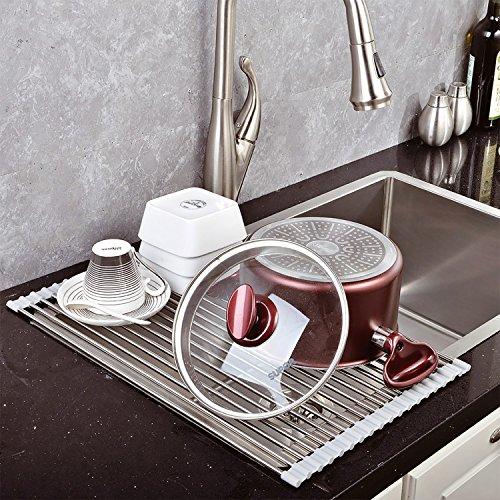 Top Home Solutions - Escurreplatos plegable acero inoxidable para fregadero