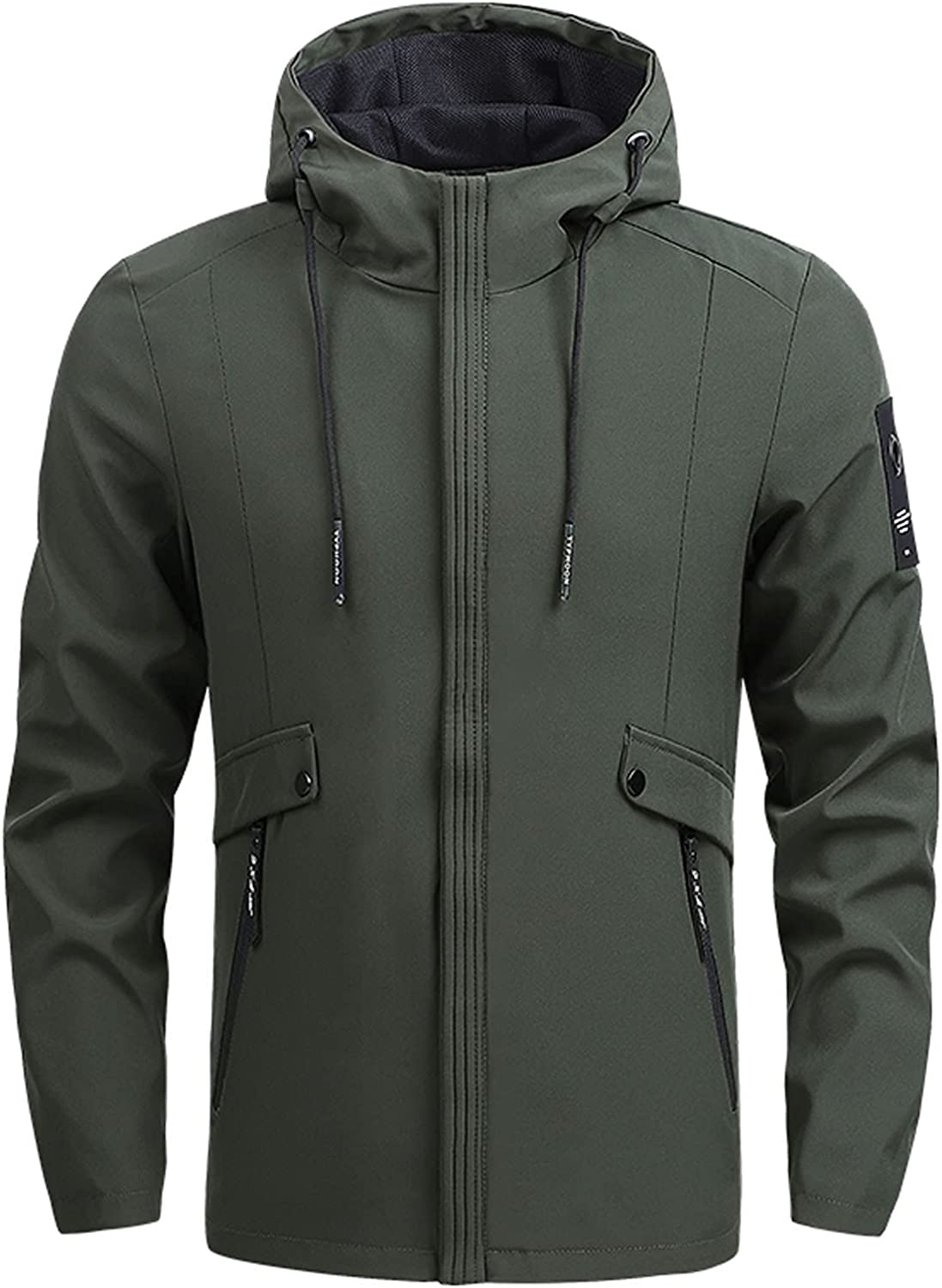 Mens Hoodie Jacket Zip-Up Drawstring Colo Sleeve Special price free shipping Coat Solid Long