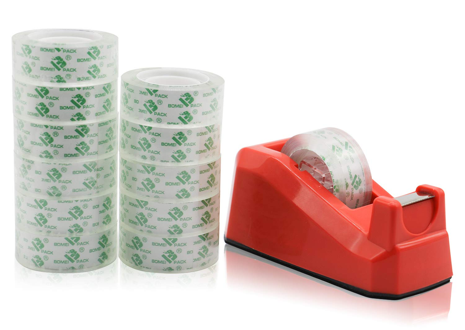 Cute Red Desk Tape Dispensers, 1 Pack with 12Rolls Transparent Tape, 1 Inch Core, for School, Office and Home DIY, BOMEI PACK
