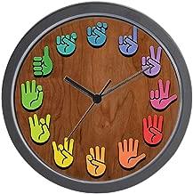 """CafePress ASL Color Wood Unique Decorative 10"""" Wall Clock"""
