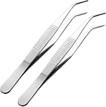 sourcingmap 2 Pcs 5.5-Inch Stainless Steel Tweezers with Curved Pointed Serrated Tip