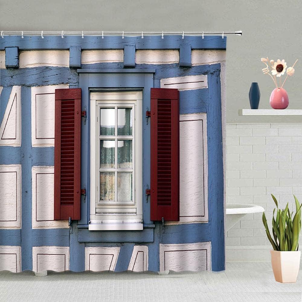 Creative Door Window Shower Curtain At the price of surprise Wooden trust Wheel Graff Car Retro