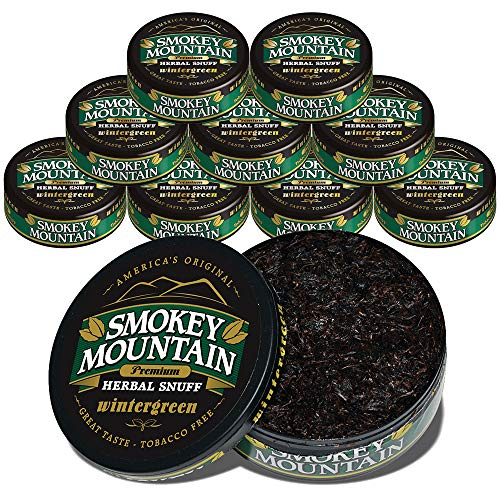 Smokey Mountain Herbal Snuff - Wintergreen - 10-Can Box - Nicotine-Free and Tobacco-Free