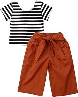 hirigin Toddler Baby Girl Clothes Striped Short Sleeve Tops+Long Bow Pants 2PCS Sets
