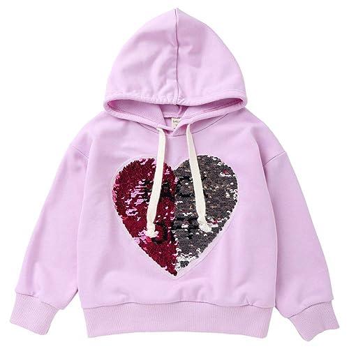 9675d29060cb6 Sunenjoy Sweater À Capuche Bébé Filles Pull À Manches Longues T-Shirt  Sequin Coeur Lettre