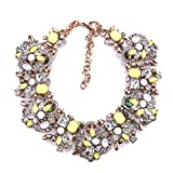 Bib Statement Necklace Colorful Glass Crystal Collar Choker Necklace for Women Fashion Accessories (Yellow+White)
