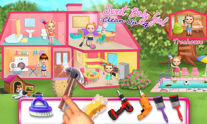 Sweet Baby Girl Cleanup 4 - House Makeover, Pony Care & BBQ Pool Party