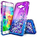 Galaxy Grand Prime Case, J2 Prime with Tempered Glass Screen Protector for Girls Kids Women, NageBee Glitter Liquid Bling Floating Waterfall Cute Case for Samsung Galaxy J2 Prime (G530) -Purple/Blue