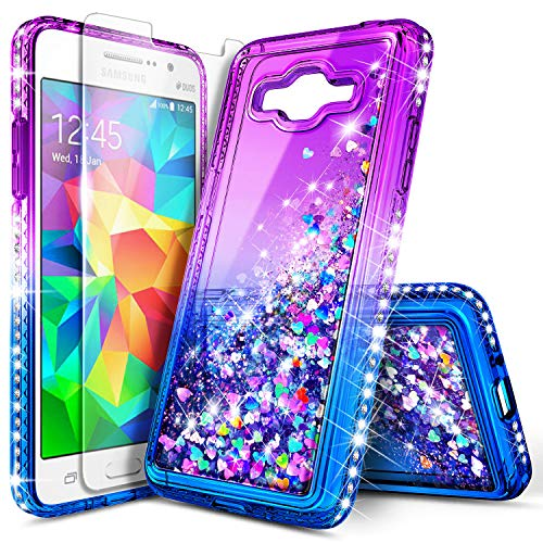 Galaxy On5 Case with Tempered Glass Screen Protector for Girls Kids Women, NageBee Glitter Liquid Waterfall Floating Sparkle Bling Diamond Cute Case for Samsung Galaxy On5 (G550) -Purple/Blue