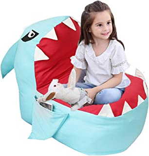 """Lmeison Animal Storage Bean Bag Chair, Kids Beanbag Soft Canvas Plush Toy Organizer, Towels & Clothes Stuffed Storage Bag for Boys and Girls, 31.5"""" Large (No Stuffing) (Blue Shark)"""