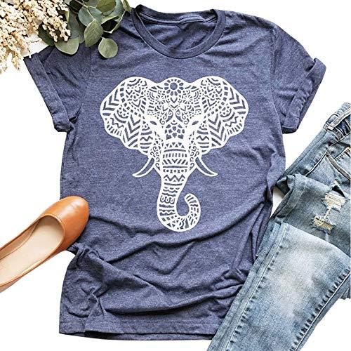 Vdnerjg Women's Cute Elephant Graphic T Shirts Summer Short Sleeve Casual Cotton Tees Tops Blue