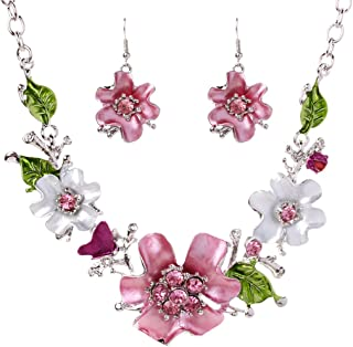 Leegoal Women Plated Oil Drip Rhinestone Flower Bib Necklace Earring Sets