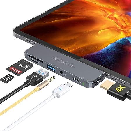 dodocool HUB USB C per iPad Pro 2020/2018, Adattatore HUB 6 in 1 con 4k HDMI, 100W PD, USB 3.0, Jack Audio 3.5 mm, SD/MicroSD, per iPad Pro 2020/2019/2018, Macbook Pro/Air 2020/2019, Huawei Mate30/P30