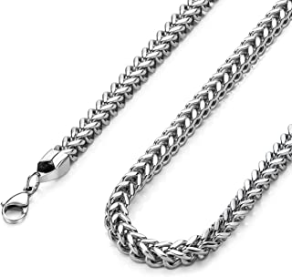 """Monily High Polished 3-6MM 16-36"""" Stainless Steel Franco Curb Chain Necklace Mens Womens Necklace Jewelry"""